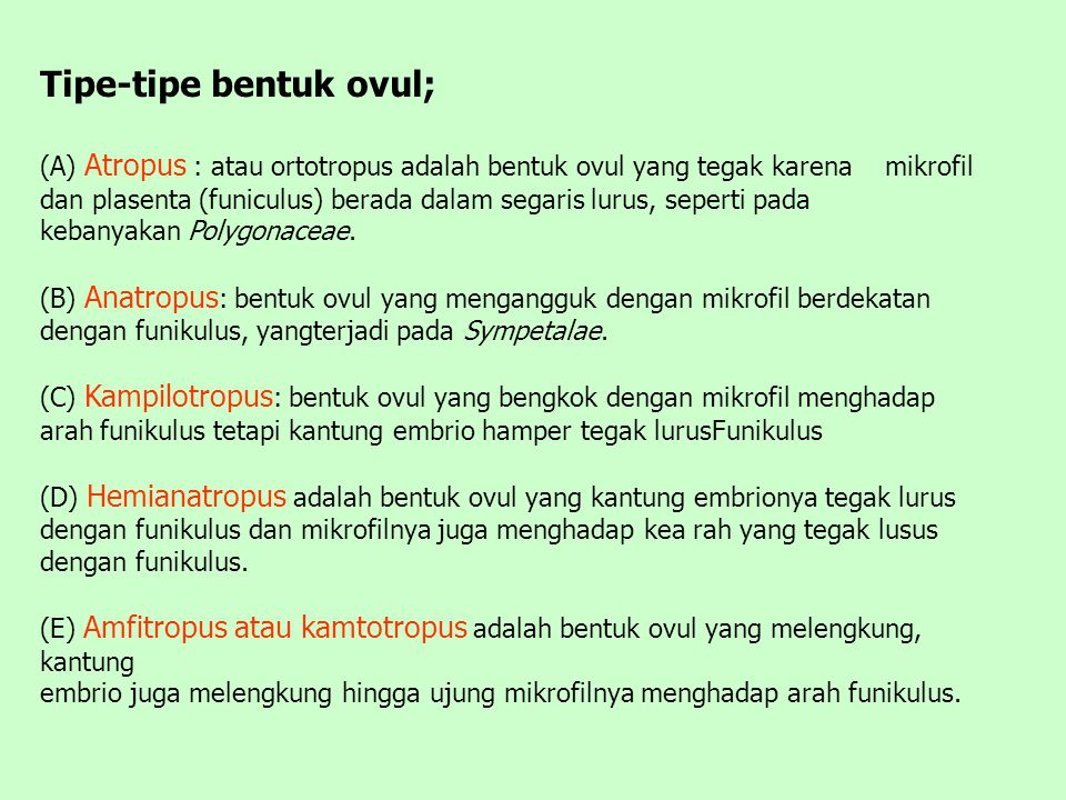 Tipe-tipe bentuk ovul;