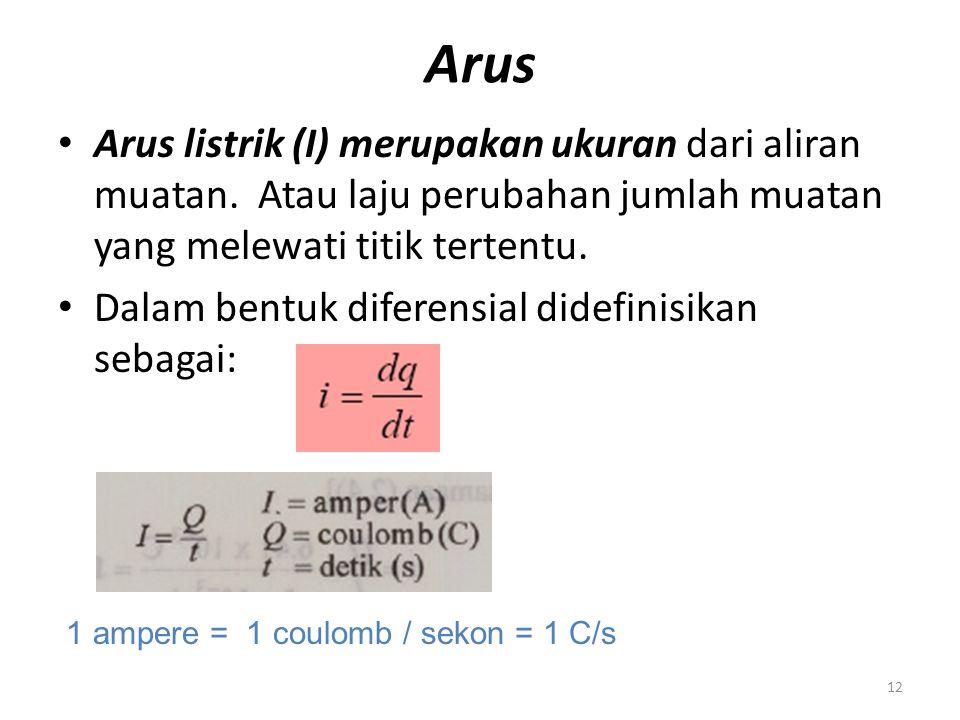 Arus Arus listrik (I) merupakan ukuran dari aliran muatan. Atau laju perubahan jumlah muatan yang melewati titik tertentu.