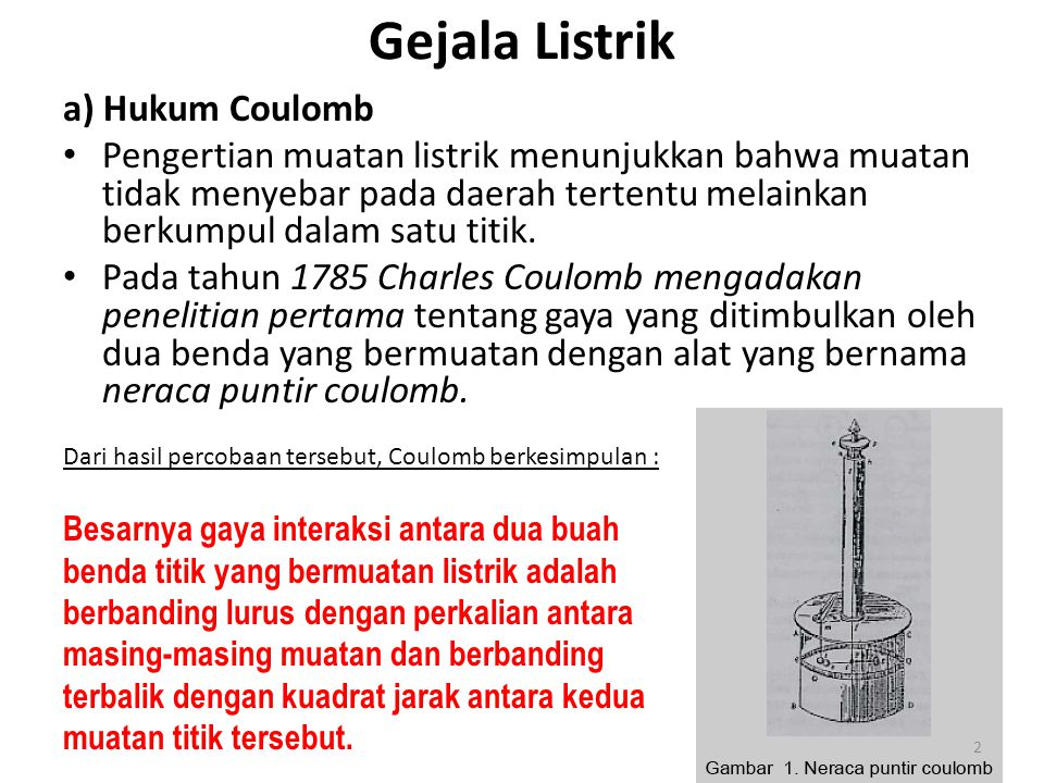 Gejala Listrik a) Hukum Coulomb
