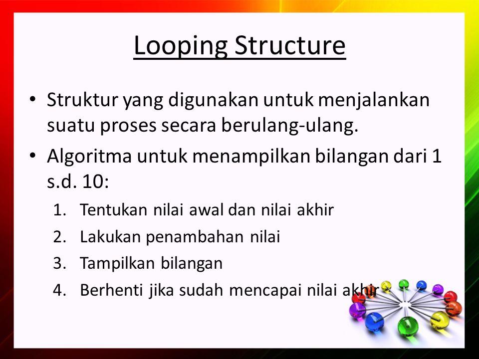 Looping Structure Struktur yang digunakan untuk menjalankan suatu proses secara berulang-ulang. Algoritma untuk menampilkan bilangan dari 1 s.d. 10: