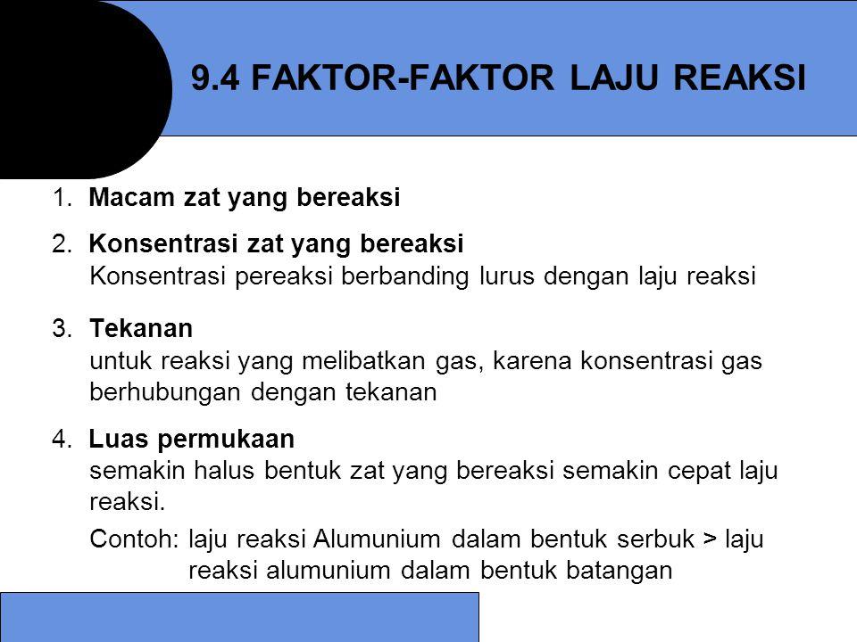 9.4 FAKTOR-FAKTOR LAJU REAKSI