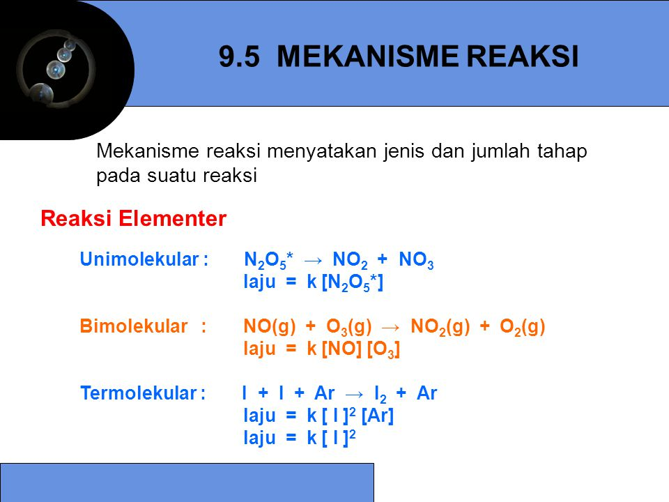 9.5 MEKANISME REAKSI Reaksi Elementer