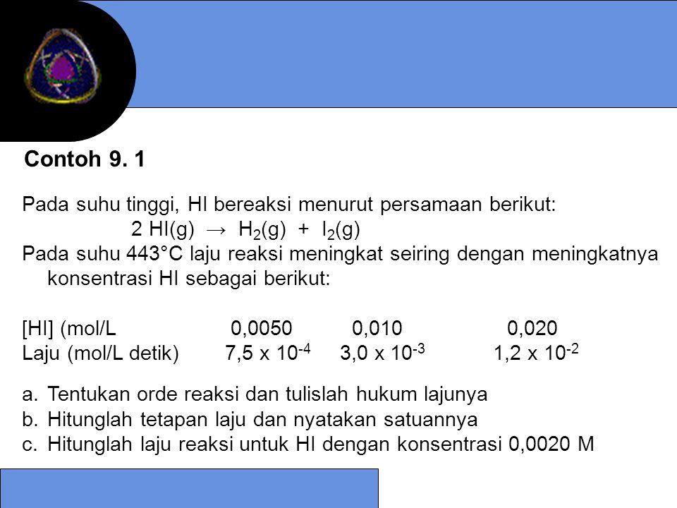 Contoh 9. 1 Pada suhu tinggi, HI bereaksi menurut persamaan berikut: