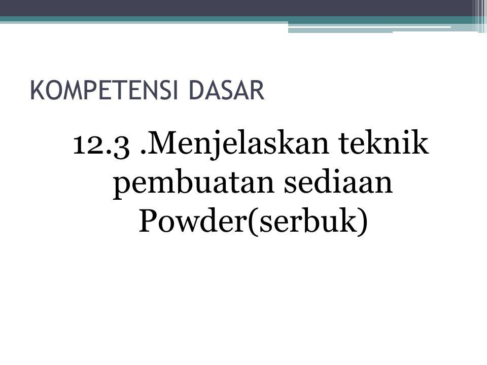 12.3 .Menjelaskan teknik pembuatan sediaan Powder(serbuk)