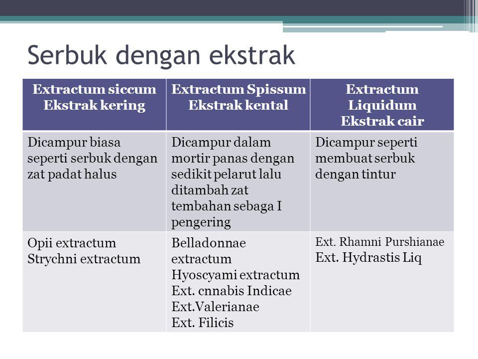 Serbuk dengan ekstrak Extractum siccum Ekstrak kering
