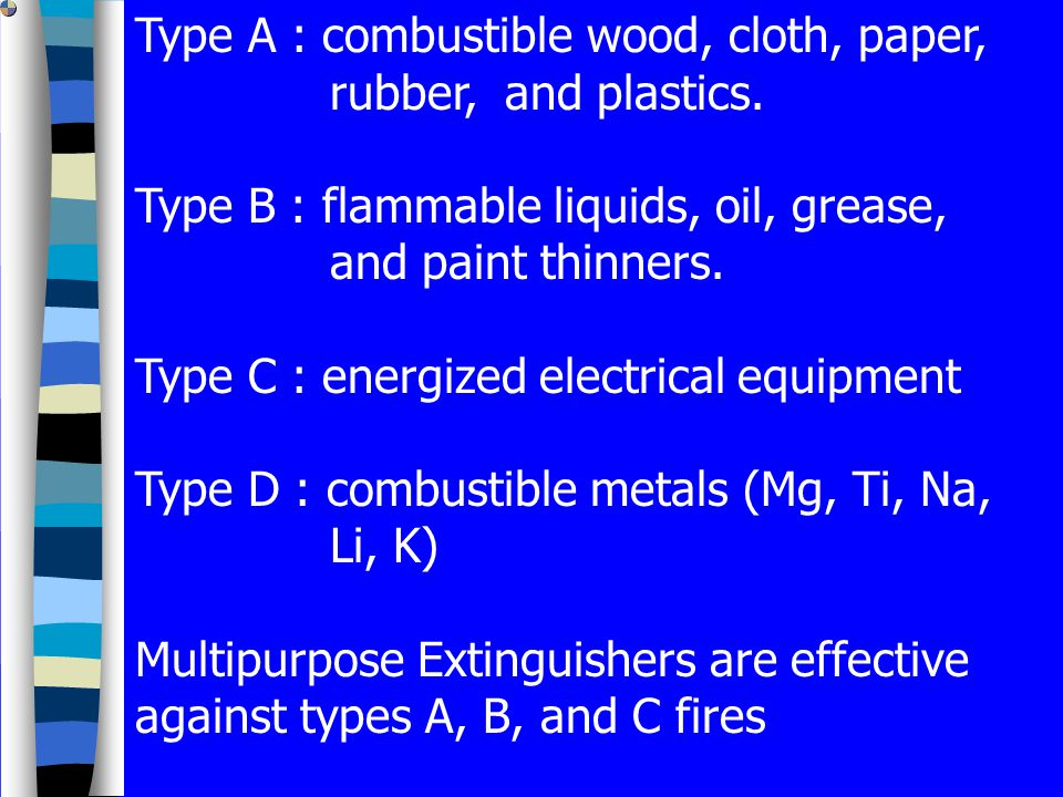 Type A : combustible wood, cloth, paper, rubber, and plastics.