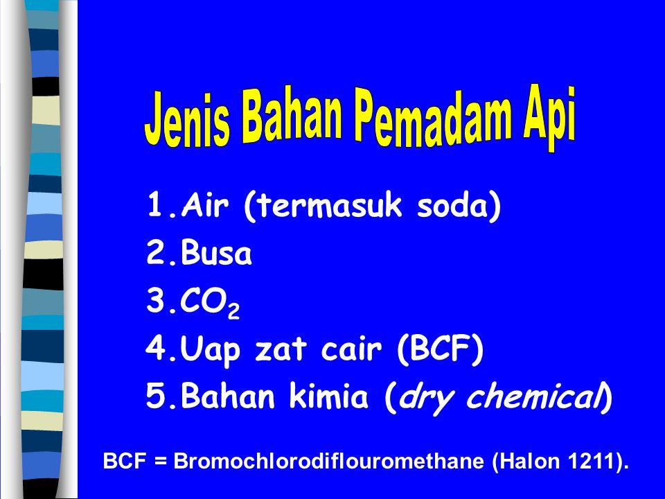 BCF = Bromochlorodiflouromethane (Halon 1211).