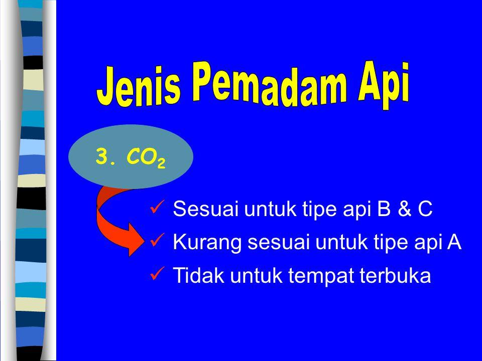 Jenis Pemadam Api 3. CO2 Sesuai untuk tipe api B & C