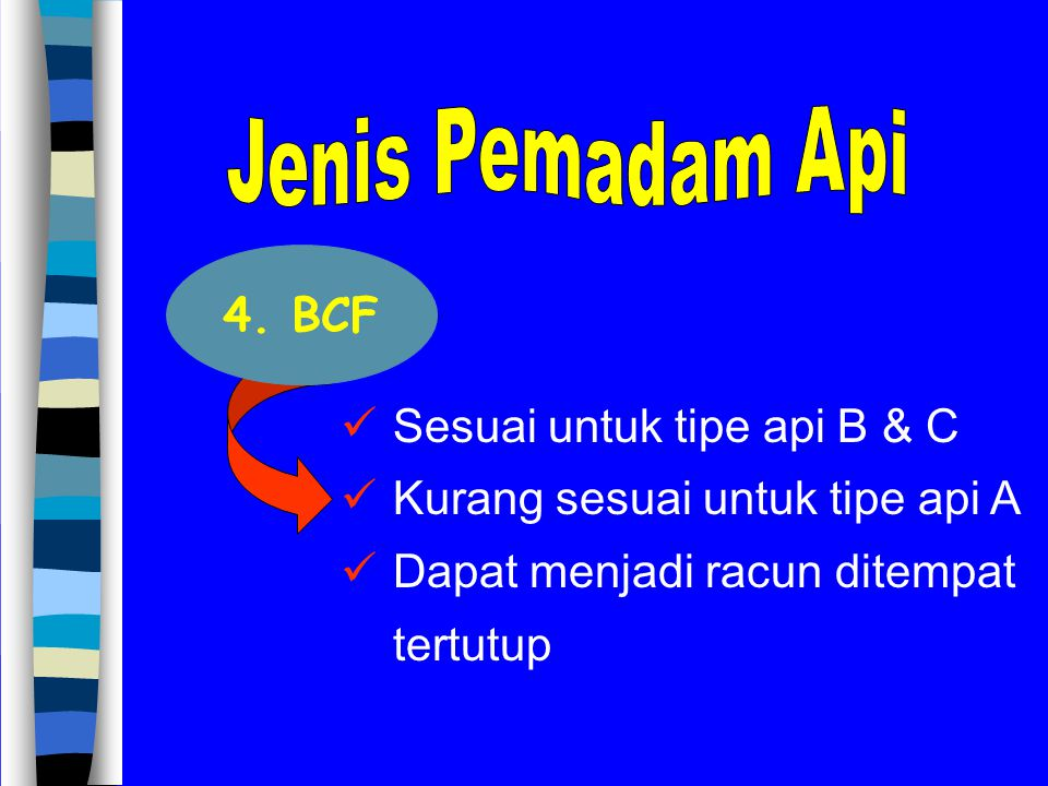 Jenis Pemadam Api 4. BCF Sesuai untuk tipe api B & C