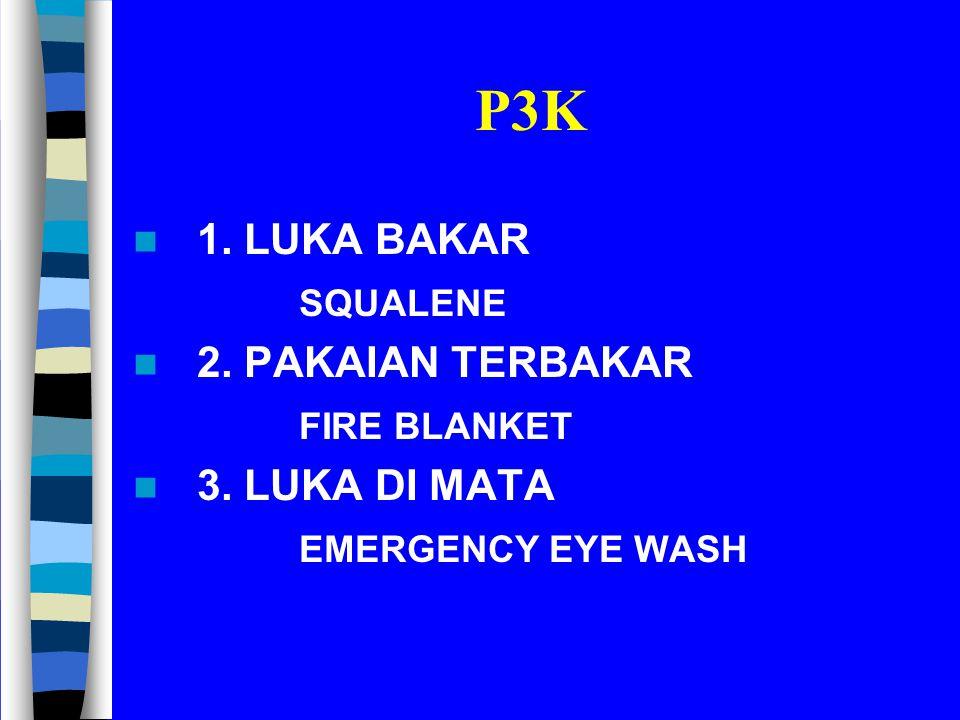 P3K 1. LUKA BAKAR SQUALENE 2. PAKAIAN TERBAKAR FIRE BLANKET