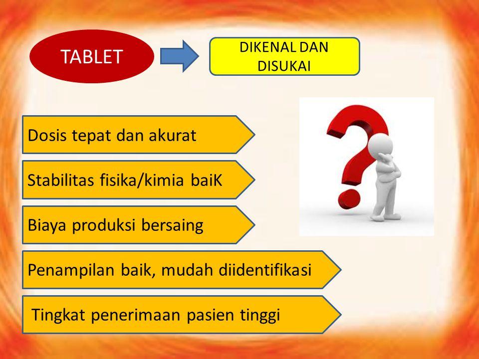TABLET Dosis tepat dan akurat Stabilitas fisika/kimia baiK