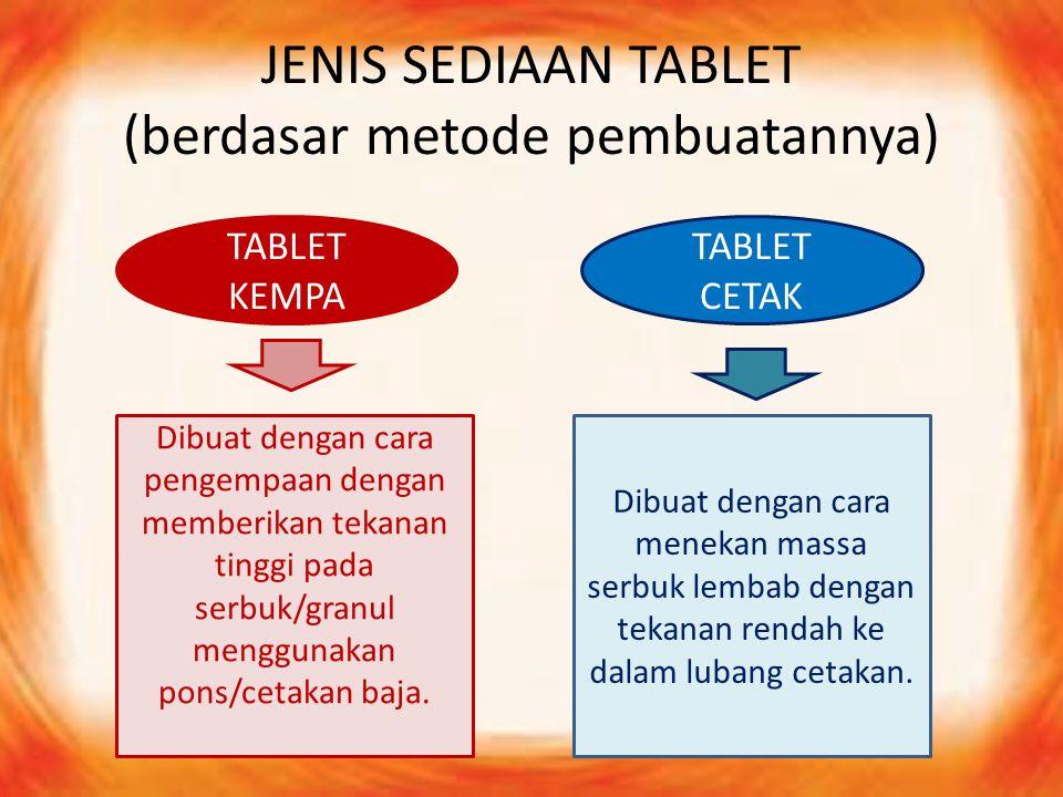 JENIS SEDIAAN TABLET (berdasar metode pembuatannya)
