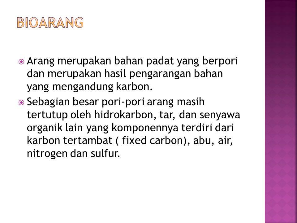 Bioarang Arang merupakan bahan padat yang berpori dan merupakan hasil pengarangan bahan yang mengandung karbon.