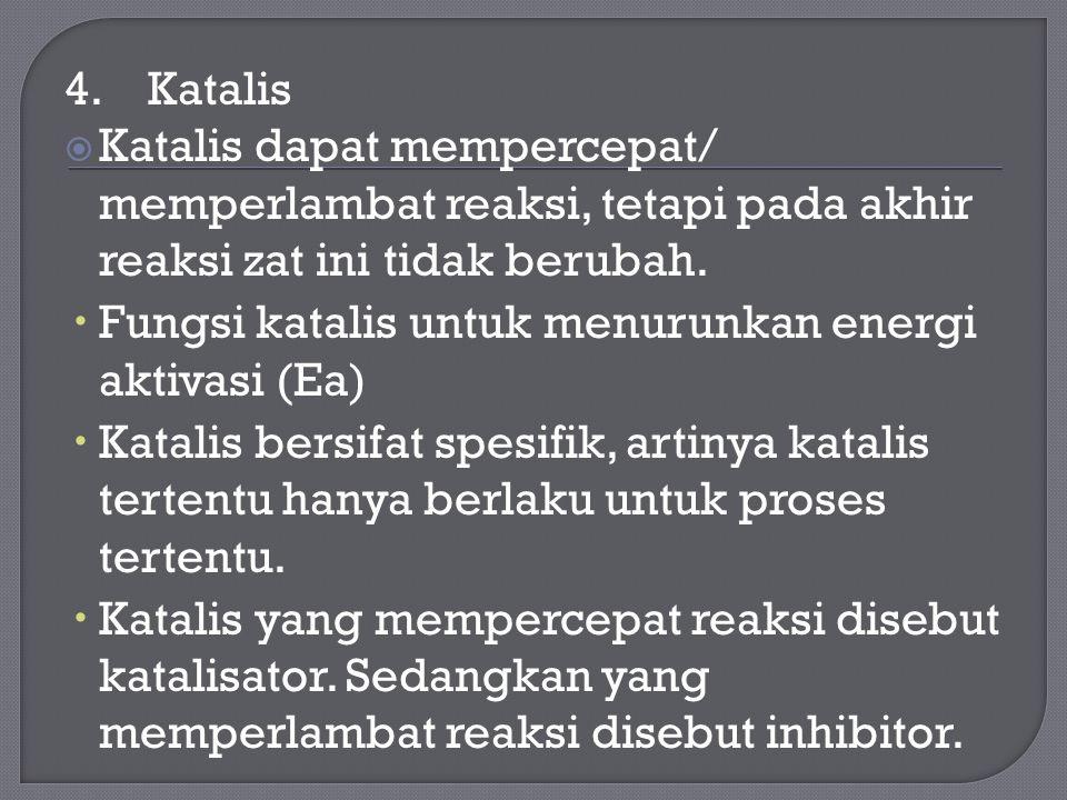 4. Katalis Katalis dapat mempercepat/ memperlambat reaksi, tetapi pada akhir reaksi zat ini tidak berubah.