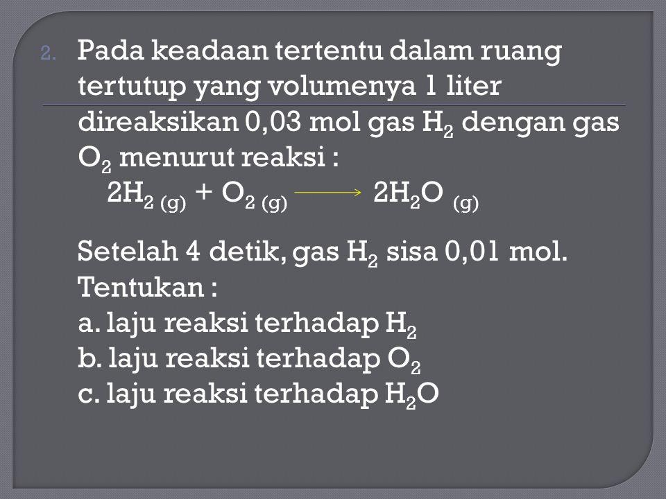 Pada keadaan tertentu dalam ruang tertutup yang volumenya 1 liter direaksikan 0,03 mol gas H2 dengan gas O2 menurut reaksi :