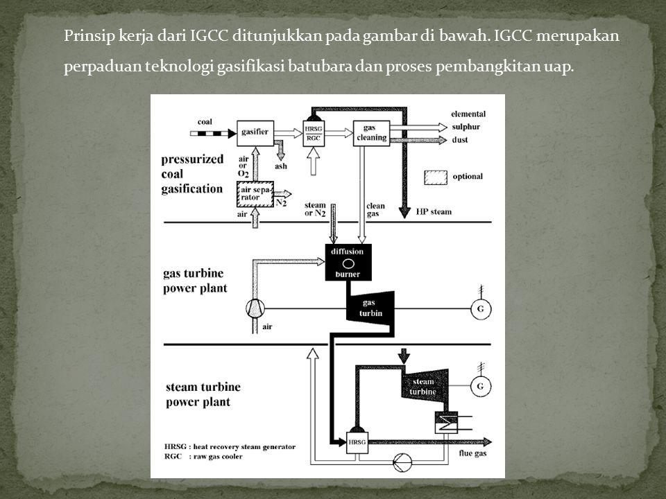 Prinsip kerja dari IGCC ditunjukkan pada gambar di bawah