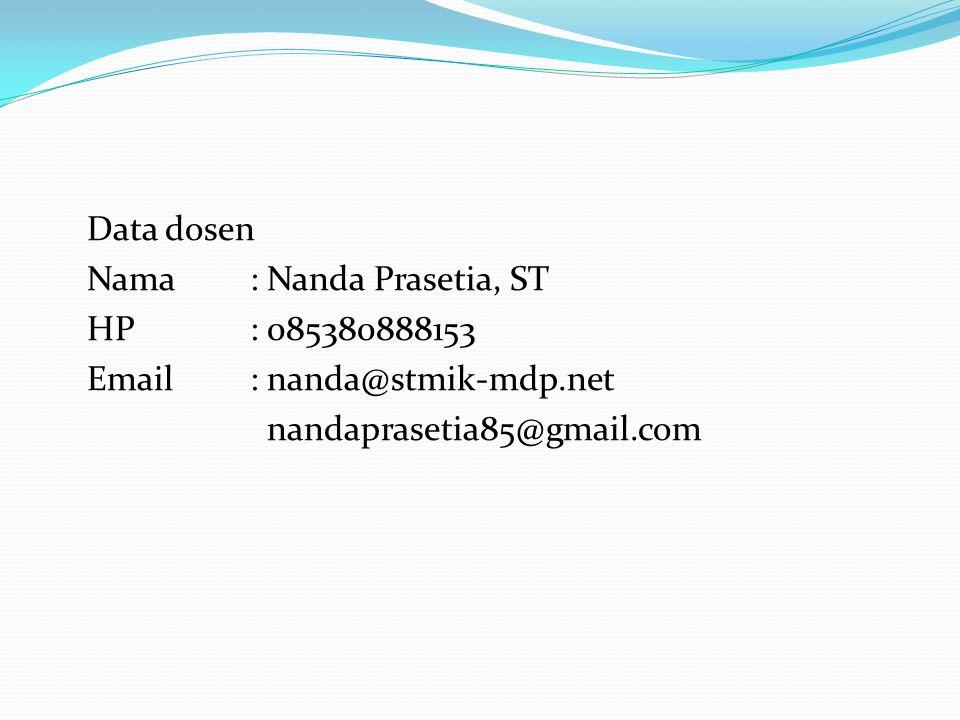 Data dosen Nama : Nanda Prasetia, ST HP : 085380888153 Email : nanda@stmik-mdp.net nandaprasetia85@gmail.com