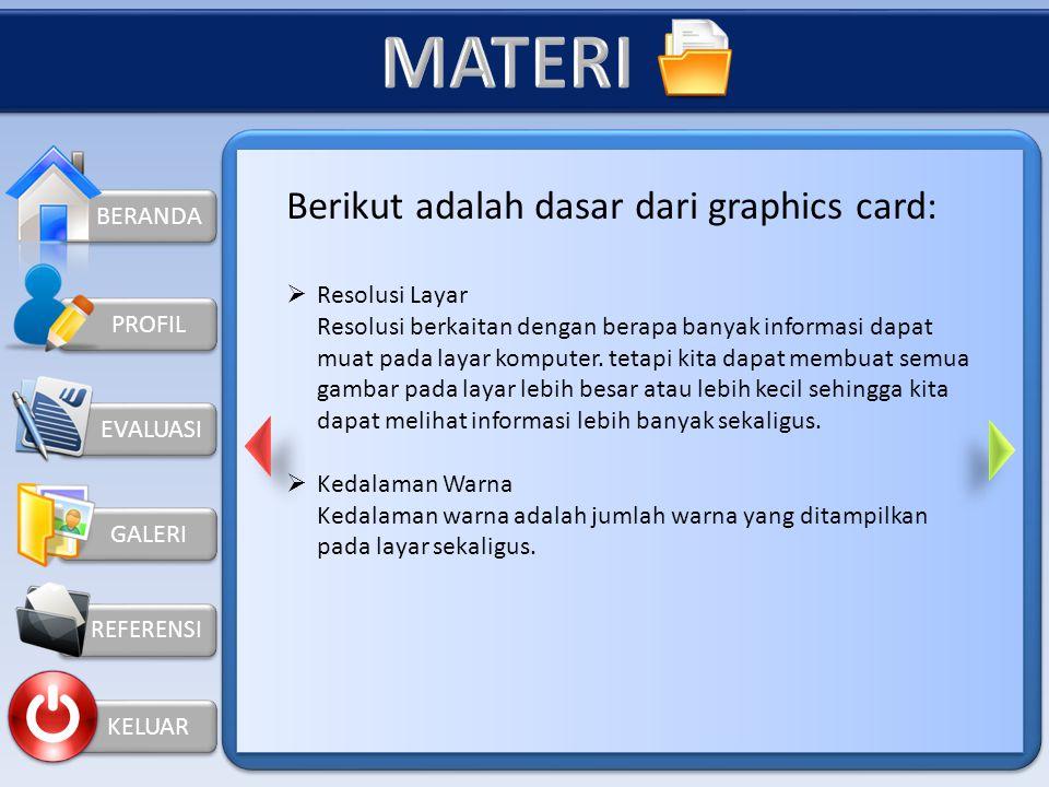 MATERI Berikut adalah dasar dari graphics card: BERANDA