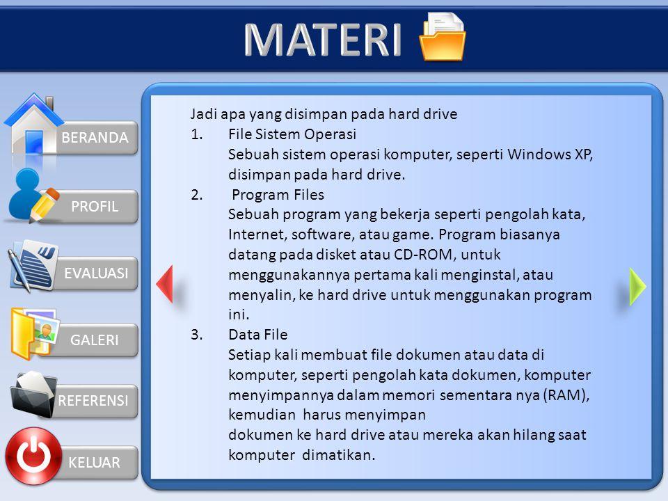 MATERI Jadi apa yang disimpan pada hard drive