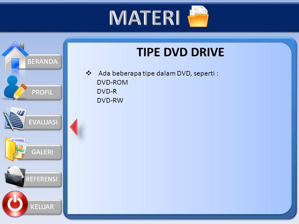 MATERI TIPE DVD DRIVE BERANDA Ada beberapa tipe dalam DVD, seperti :