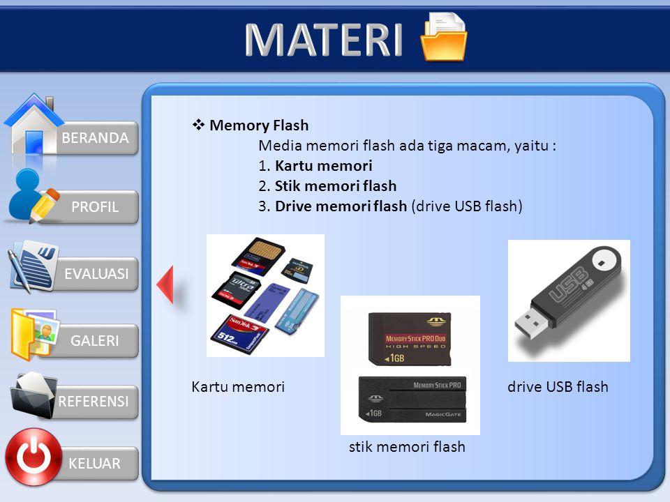 MATERI Memory Flash BERANDA Media memori flash ada tiga macam, yaitu :