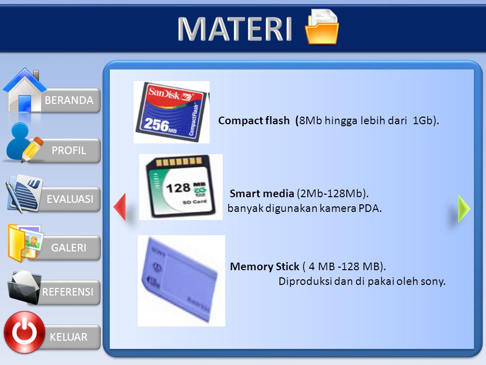 MATERI BERANDA Compact flash (8Mb hingga lebih dari 1Gb).
