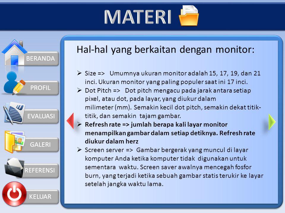 MATERI Hal-hal yang berkaitan dengan monitor: BERANDA
