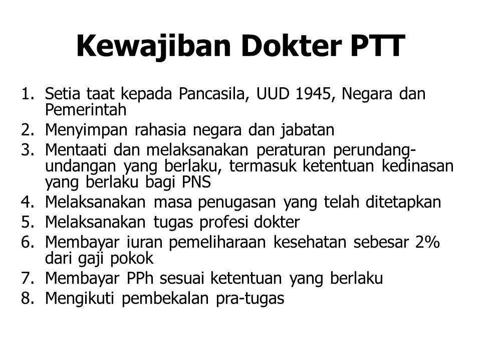 Kewajiban Dokter PTT Setia taat kepada Pancasila, UUD 1945, Negara dan Pemerintah. Menyimpan rahasia negara dan jabatan.