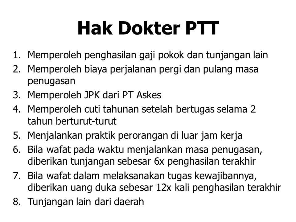 Hak Dokter PTT Memperoleh penghasilan gaji pokok dan tunjangan lain