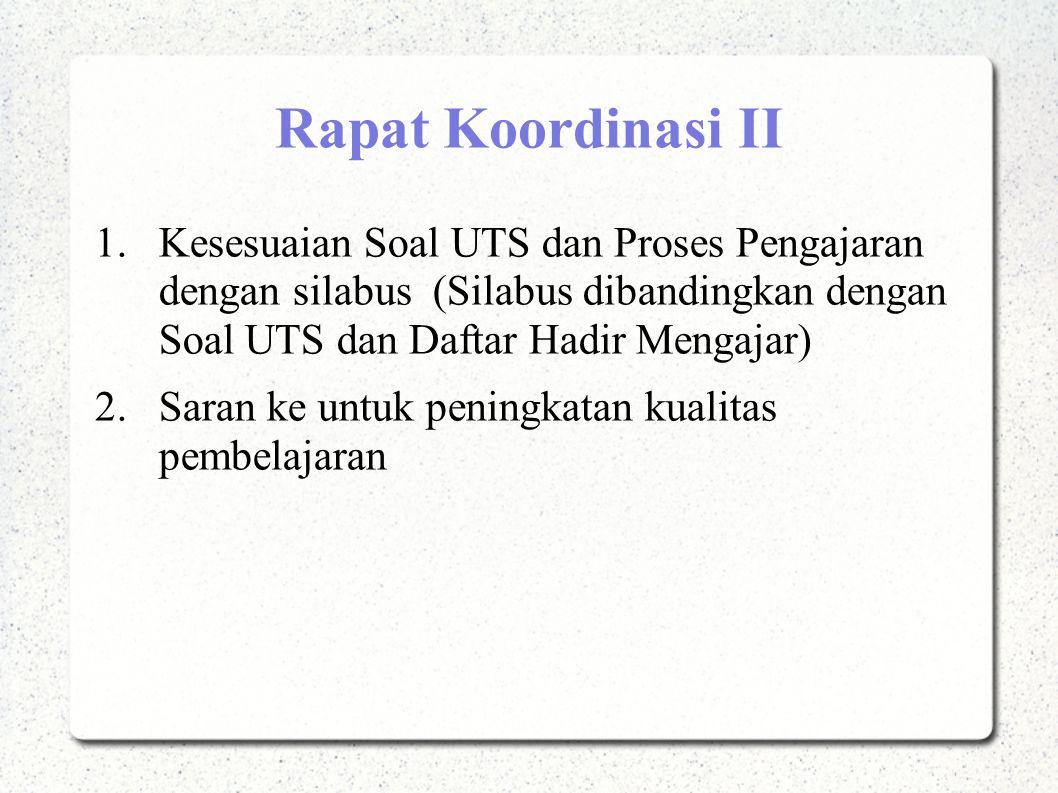 Rapat Koordinasi II Kesesuaian Soal UTS dan Proses Pengajaran dengan silabus (Silabus dibandingkan dengan Soal UTS dan Daftar Hadir Mengajar)