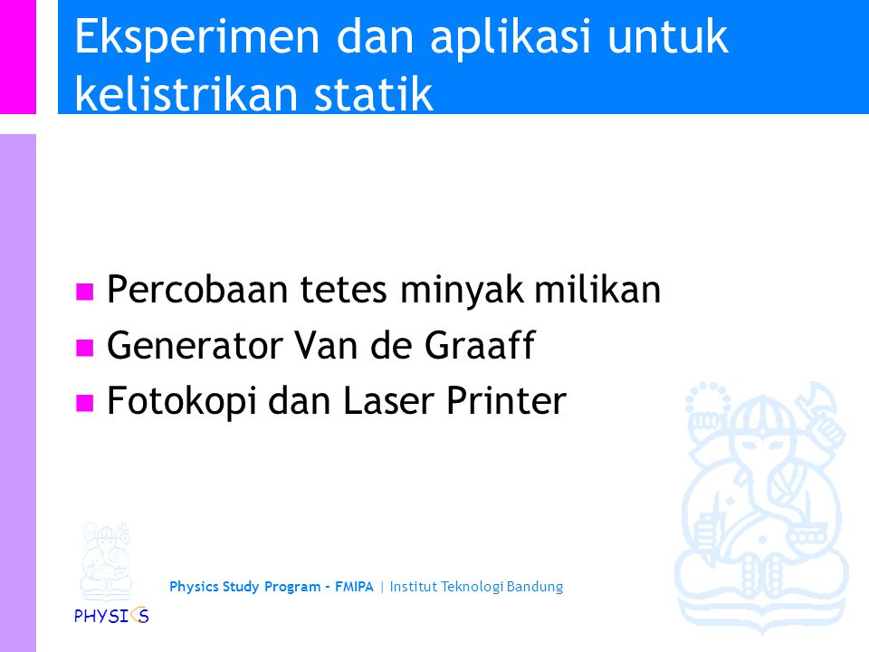 Eksperimen dan aplikasi untuk kelistrikan statik
