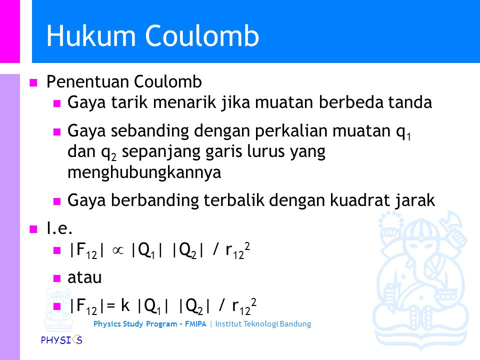 Hukum Coulomb Penentuan Coulomb