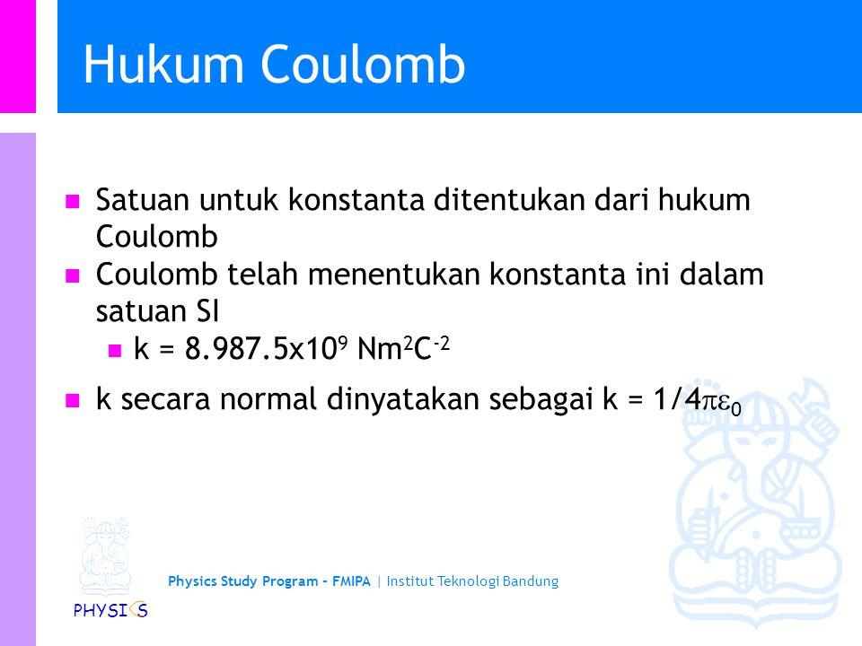 Hukum Coulomb Satuan untuk konstanta ditentukan dari hukum Coulomb