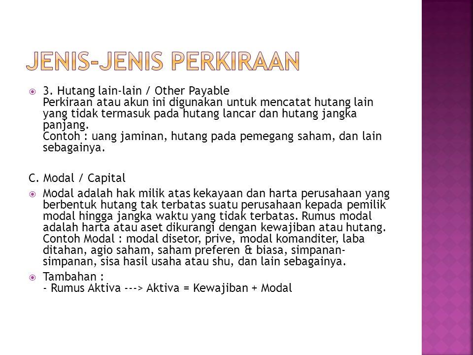 JENIS-JENIS PERKIRAAN