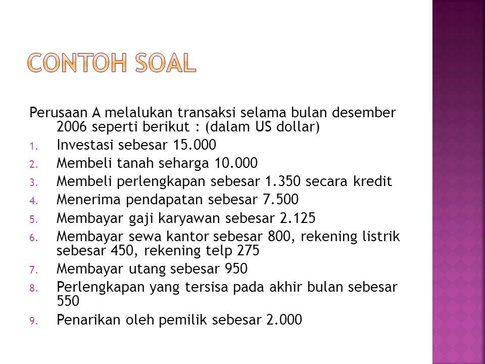 CONTOH SOAL Perusaan A melalukan transaksi selama bulan desember 2006 seperti berikut : (dalam US dollar)