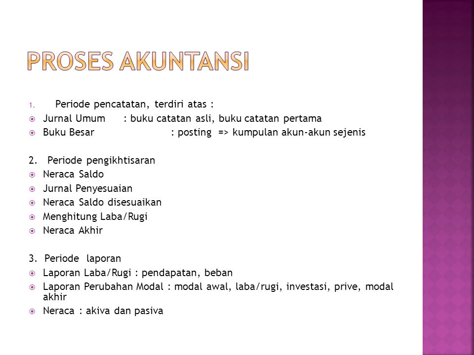 PROSES AKUNTANSI Periode pencatatan, terdiri atas :