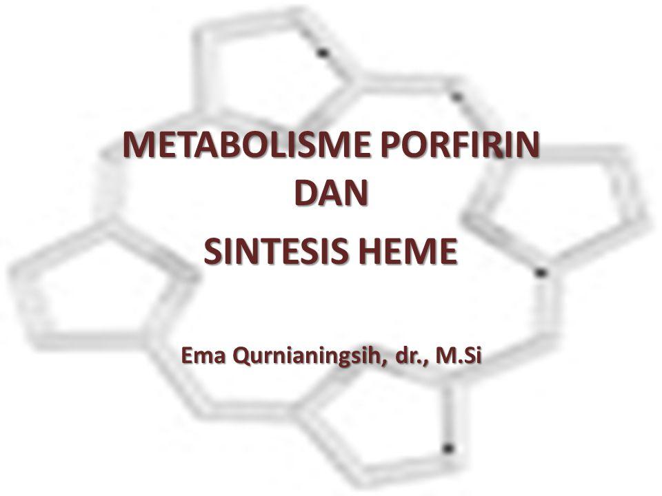 METABOLISME PORFIRIN DAN SINTESIS HEME Ema Qurnianingsih, dr., M.Si