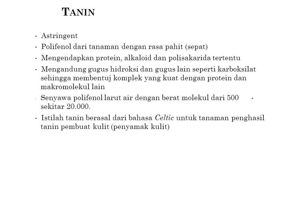 Tanin - Astringent - Polifenol dari tanaman dengan rasa pahit (sepat)