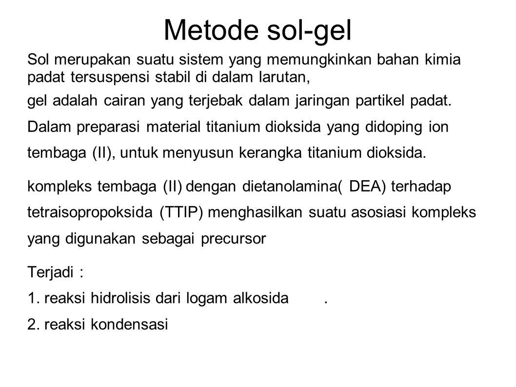 Metode sol-gel Sol merupakan suatu sistem yang memungkinkan bahan kimia padat tersuspensi stabil di dalam larutan,