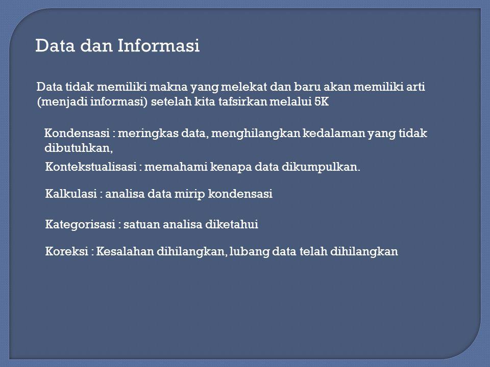 Data dan Informasi Data tidak memiliki makna yang melekat dan baru akan memiliki arti (menjadi informasi) setelah kita tafsirkan melalui 5K.