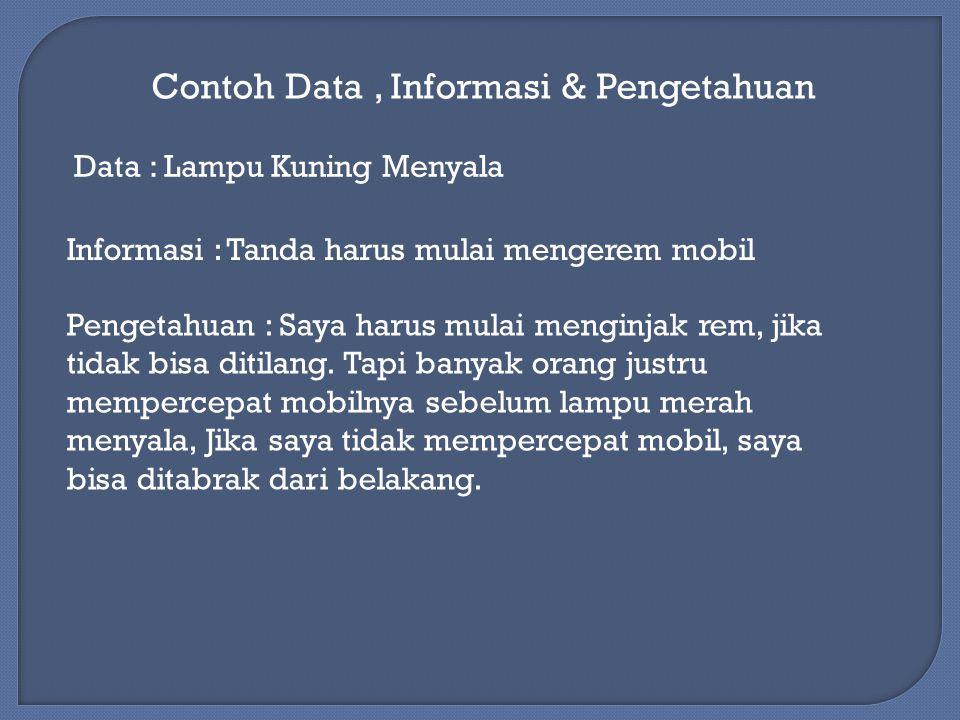 Contoh Data , Informasi & Pengetahuan