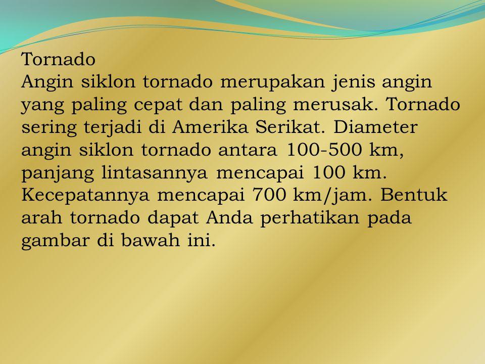 Tornado Angin siklon tornado merupakan jenis angin yang paling cepat dan paling merusak.