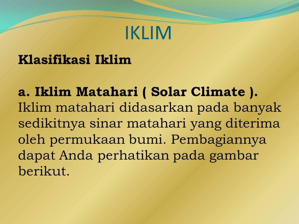 IKLIM Klasifikasi Iklim a. Iklim Matahari ( Solar Climate ).