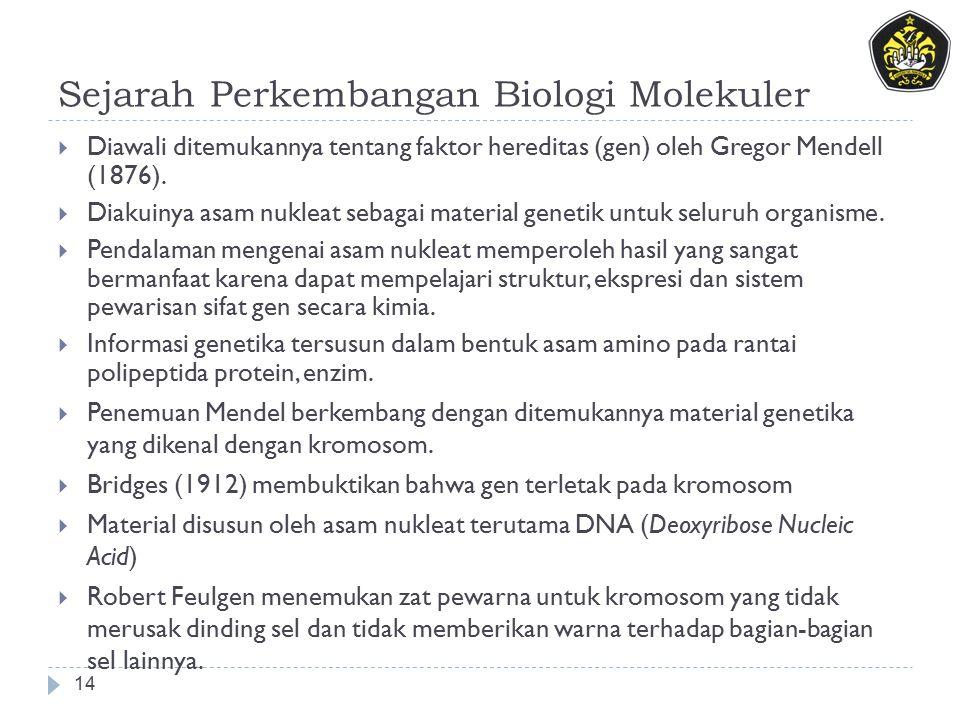 Sejarah Perkembangan Biologi Molekuler