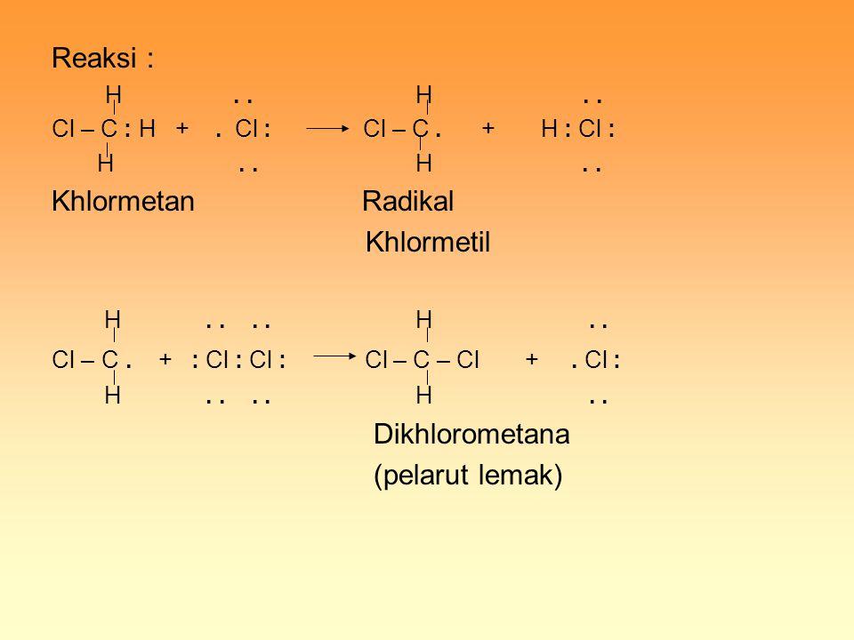 Reaksi : Khlormetan Radikal Khlormetil Dikhlorometana (pelarut lemak)