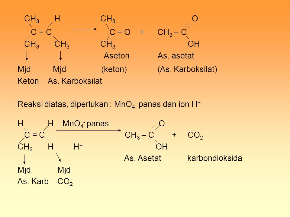 C = C C = O + CH3 – C CH3 H CH3 O CH3 CH3 CH3 OH Aseton As. asetat