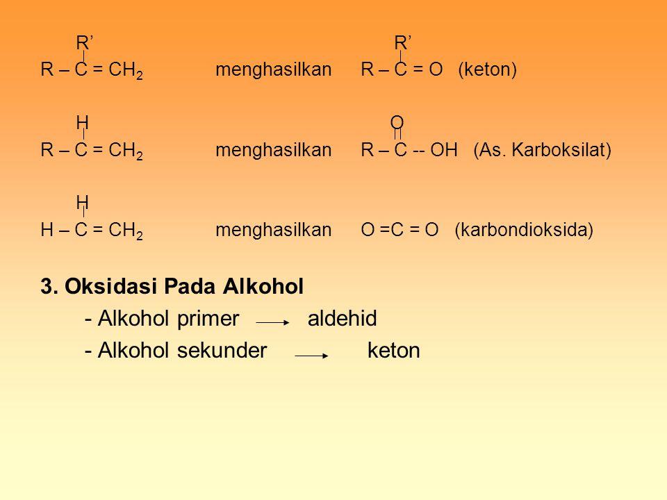 - Alkohol primer aldehid - Alkohol sekunder keton