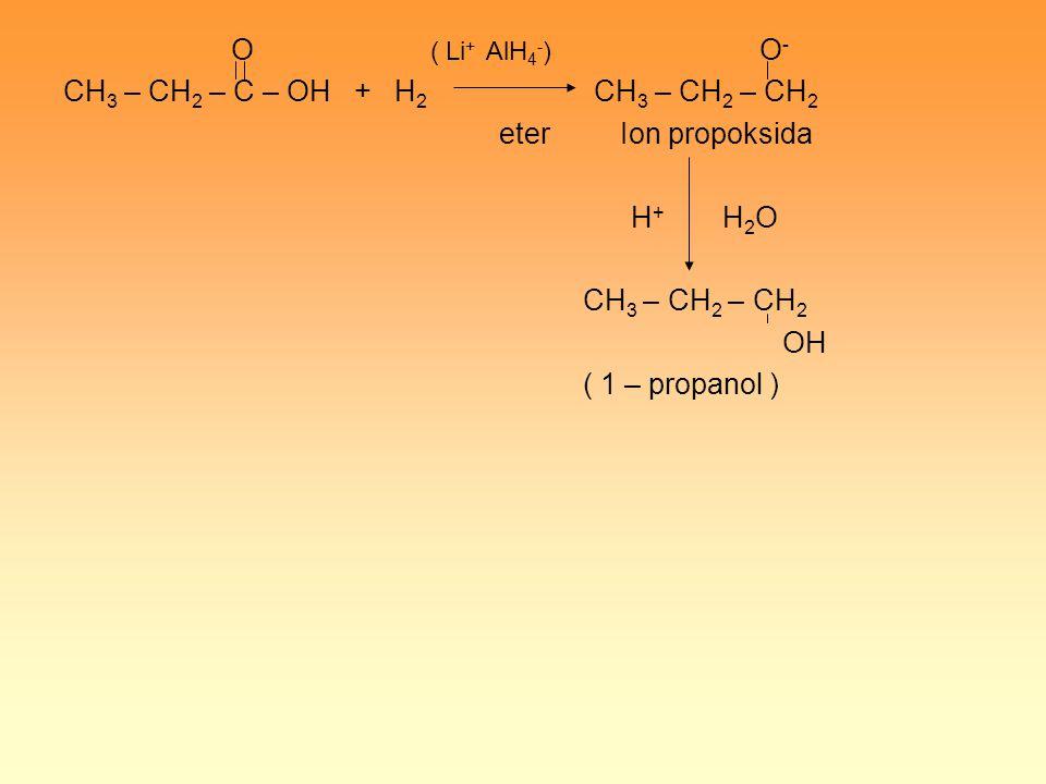 O ( Li+ AlH4-) O- CH3 – CH2 – C – OH + H2 CH3 – CH2 – CH2.