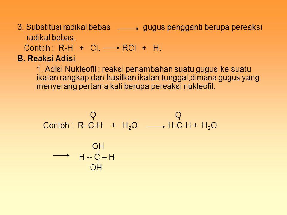 3. Substitusi radikal bebas gugus pengganti berupa pereaksi