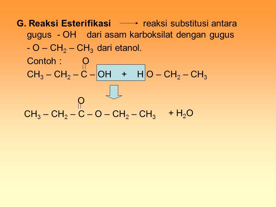 G. Reaksi Esterifikasi reaksi substitusi antara gugus - OH dari asam karboksilat dengan gugus